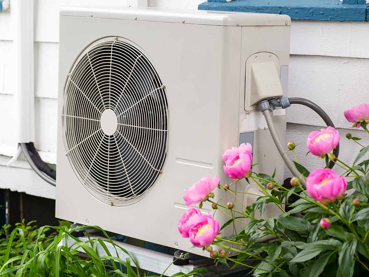 heat pump on outside of home